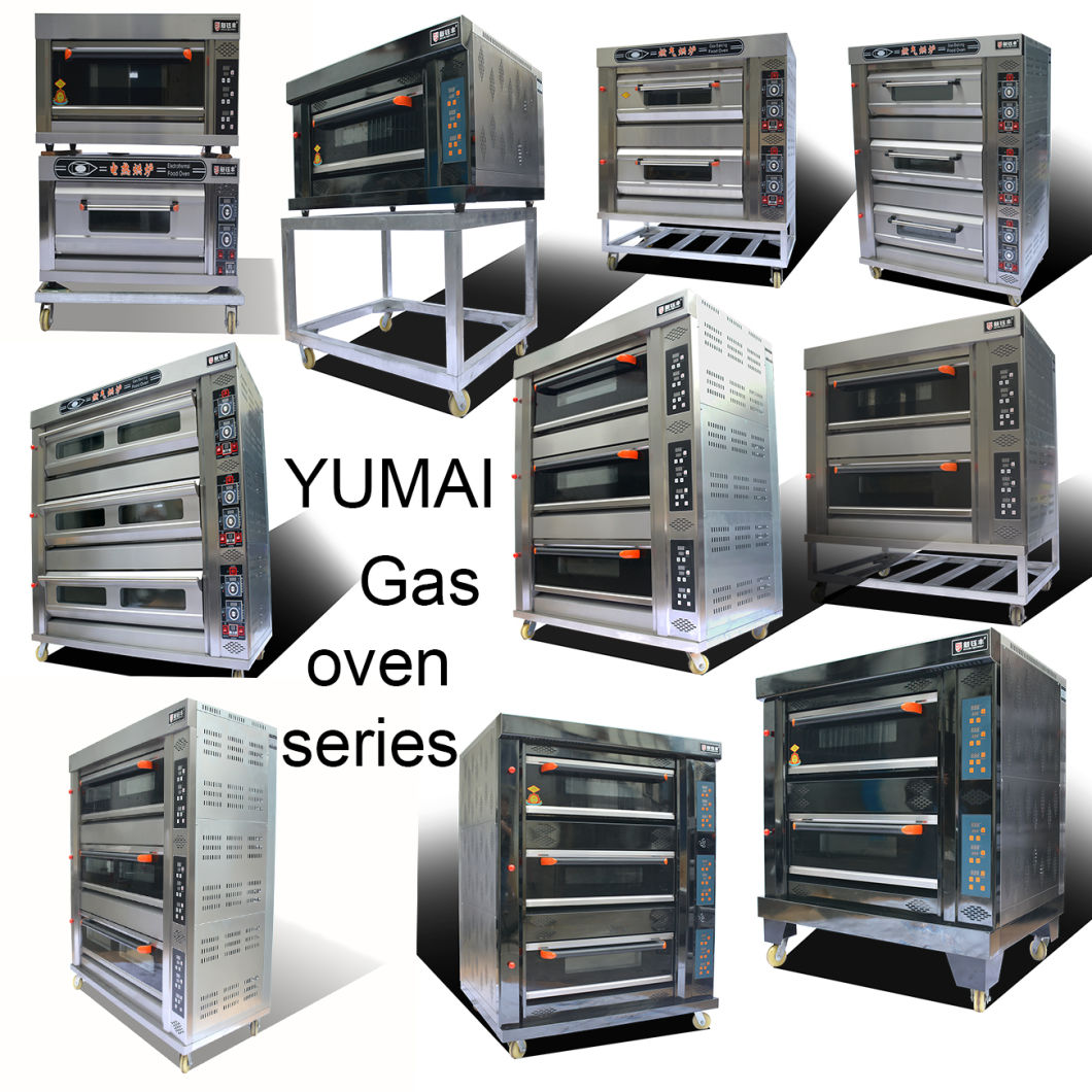 Gas Bakery Bread Deck Equipment 2 Deck 4 Trays Stainless Steel Bakery Bread Deck Bread Oven