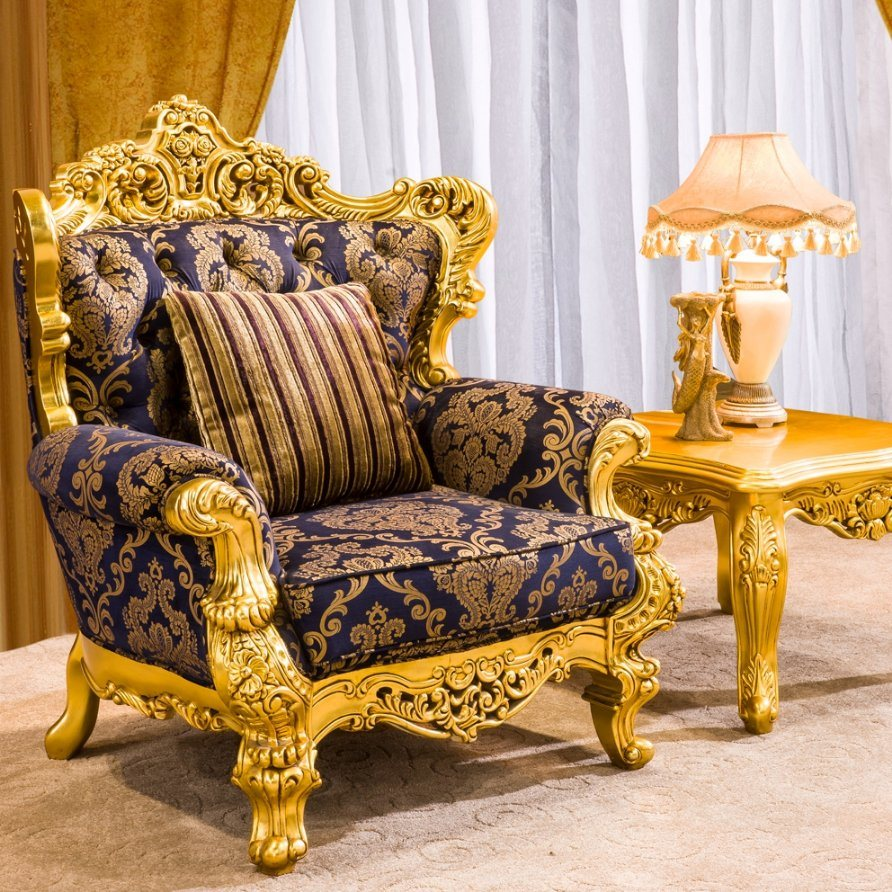 China Royal Gold Wood Living Room Furniture Sofa Set for ...