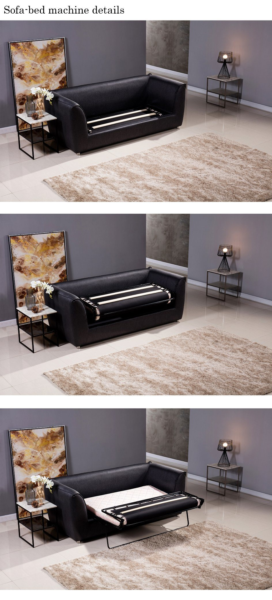 Malaysia Hot Selling Modern Floding Sofabed Sectional Sofa Cum Bed