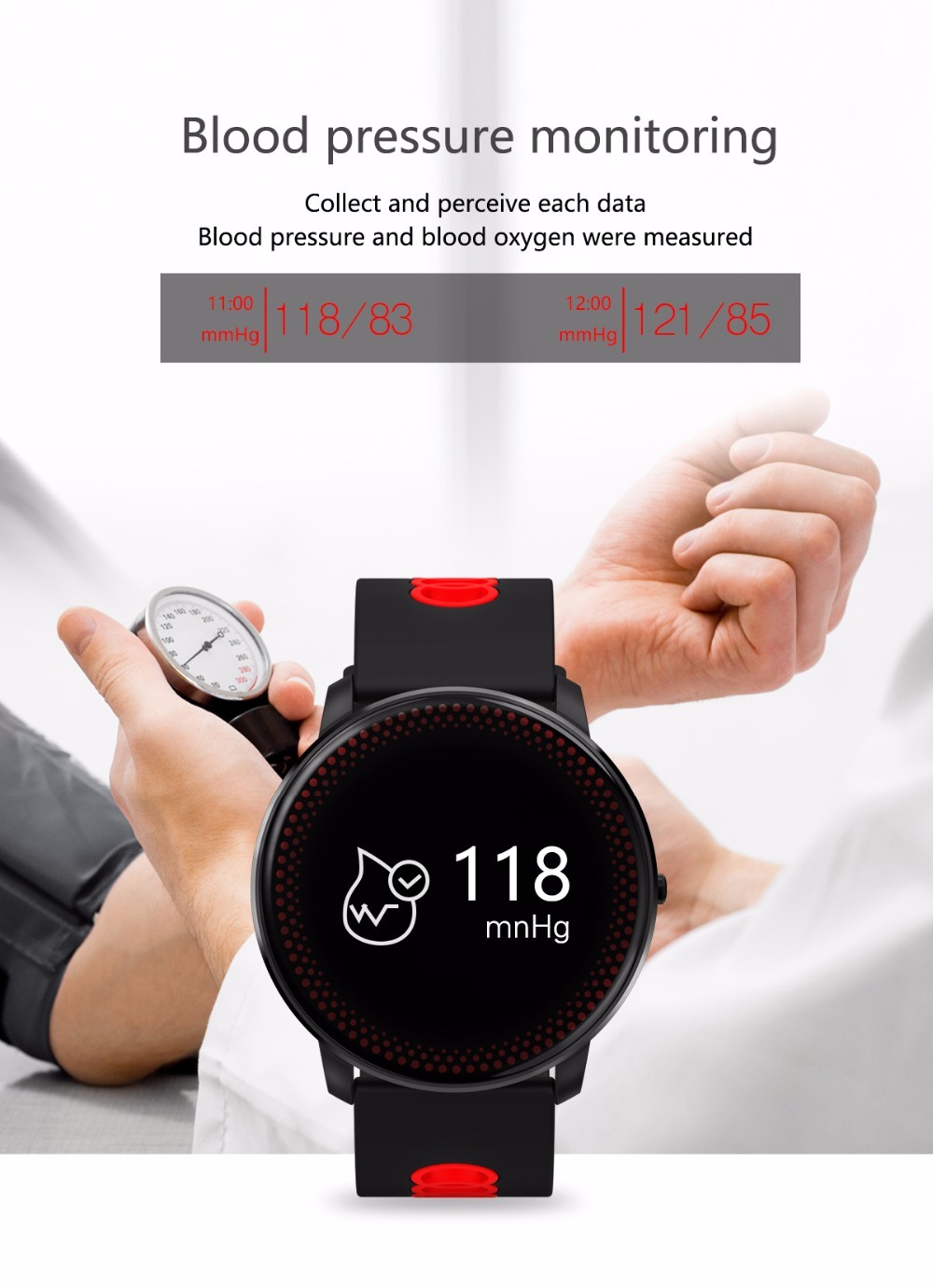 CF007 Plus Smart Fitness Bracelet Tracker Heart Rate Blood Pressure Monitor Smart Band Watch