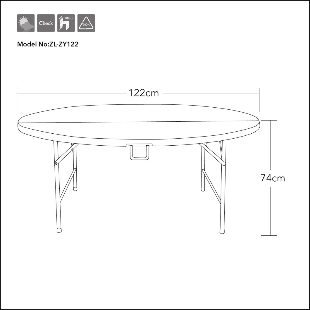 - China 4 Foot Plastic Folding Table - Folds In Half With Carrying