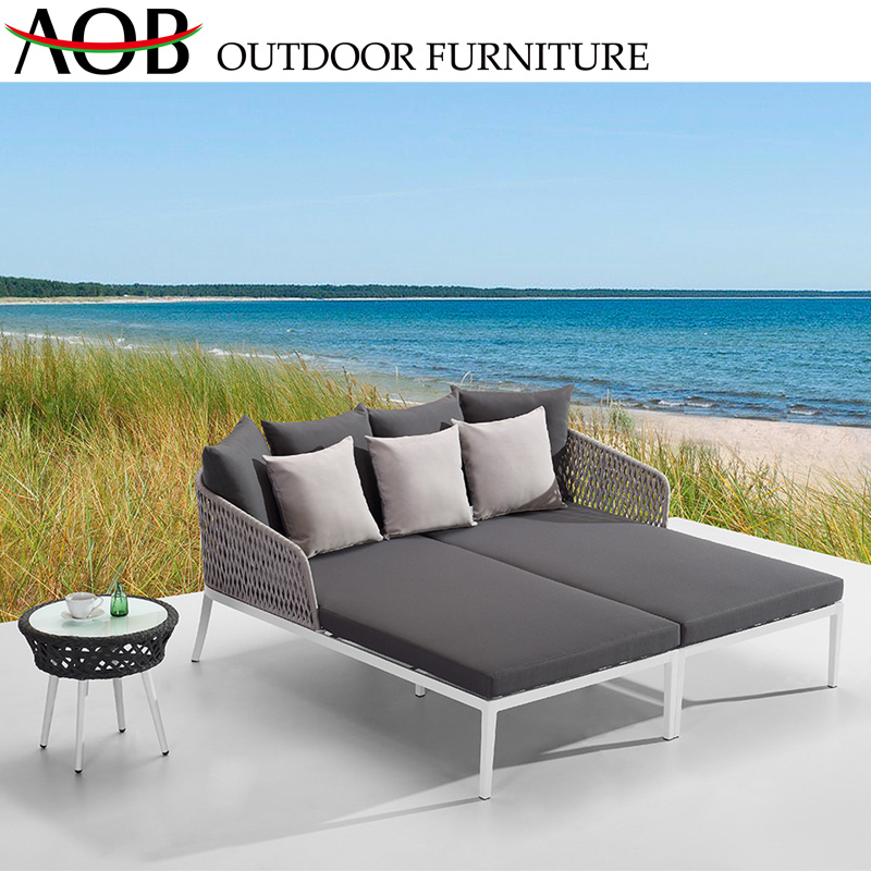 China Garden Outdoor Patio Furniture Lounge Webbing Weaving Rope New Design  Double Daybed Sunbed Chi