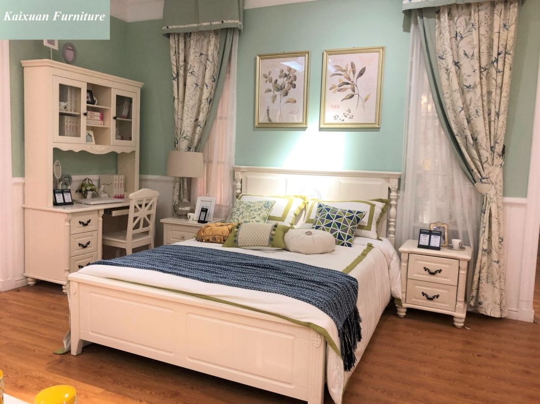 China Luxury Solid Wood Bedroom Furniture Set For Hotel Home