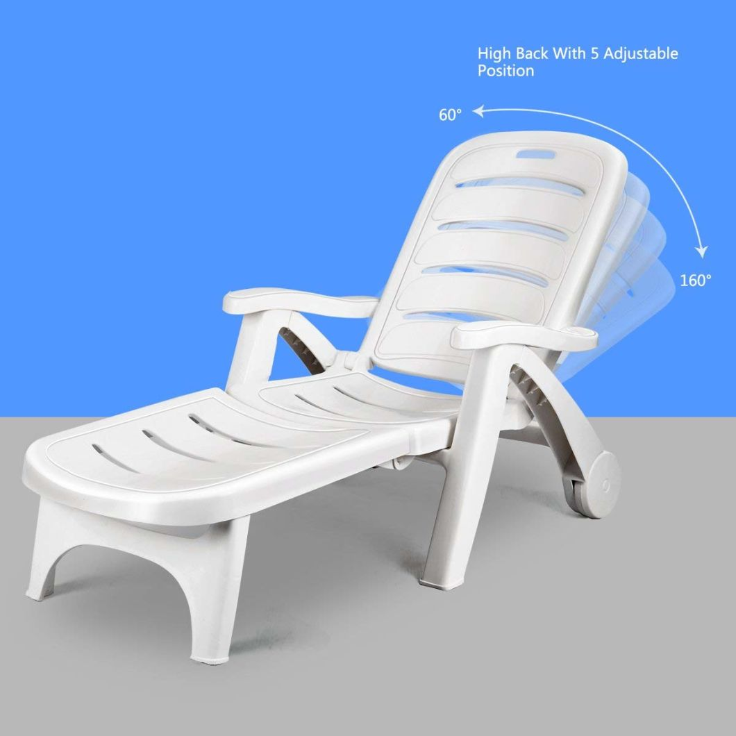 China Plastic Outdoor Patio Deck Garden Foldable Adirondack Chair With Pull Out Ottoman
