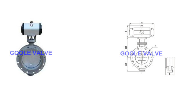 Pneumatic Flanged Soft Seal on/off Aeration Butterfly Valve (D641)