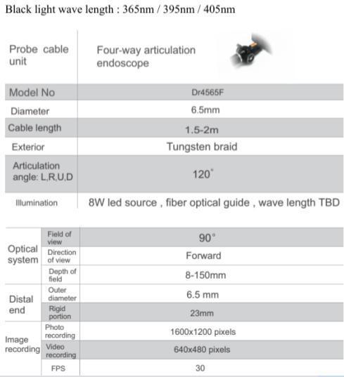 Video Endoscopy with 365nm Black Light, 4-Way, 6mm Camera Lens