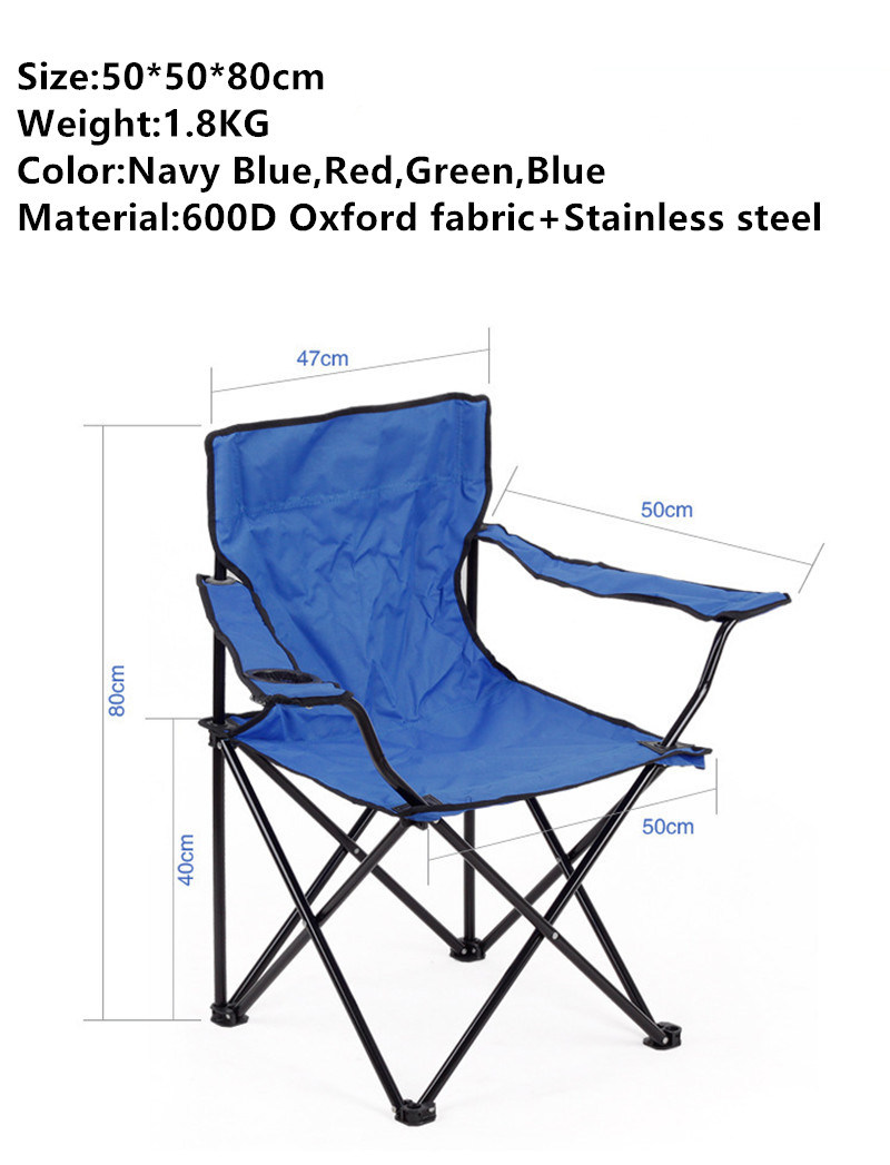 China Factory Outdoor Leisure 600d Oxford Foldable Beach Chair For Camping Fishing