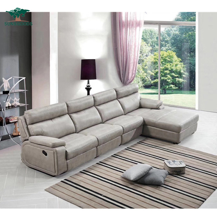 L Shape Reclining Sofa Genuine Leather