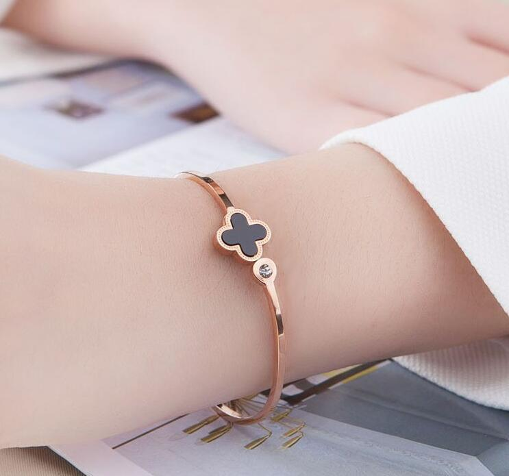 Clover Open Customized Engraved Cuff Bracelet Stainless Steel Bangle