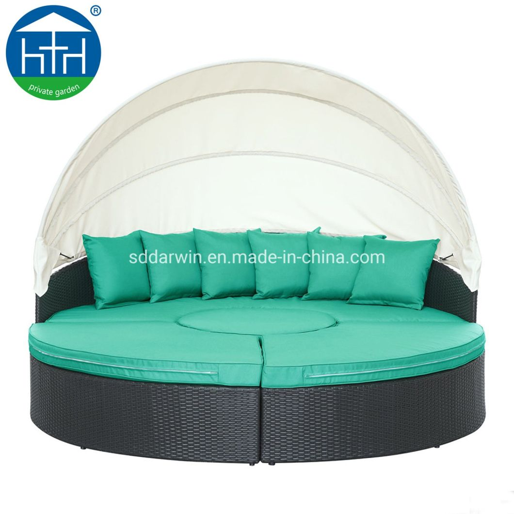- China Outdoor PE Wicker Daybed Furniture With Cushion Canopy