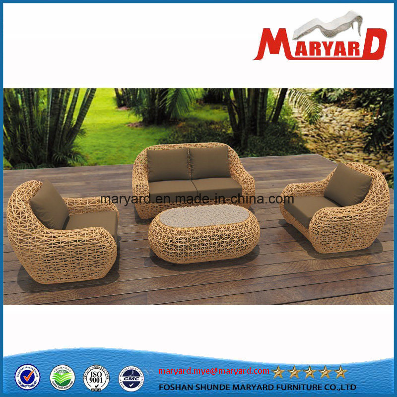 Outdoor Garden Pqtio Aluminum Rope 5PCS Sofa Sets Furniture with Cushion