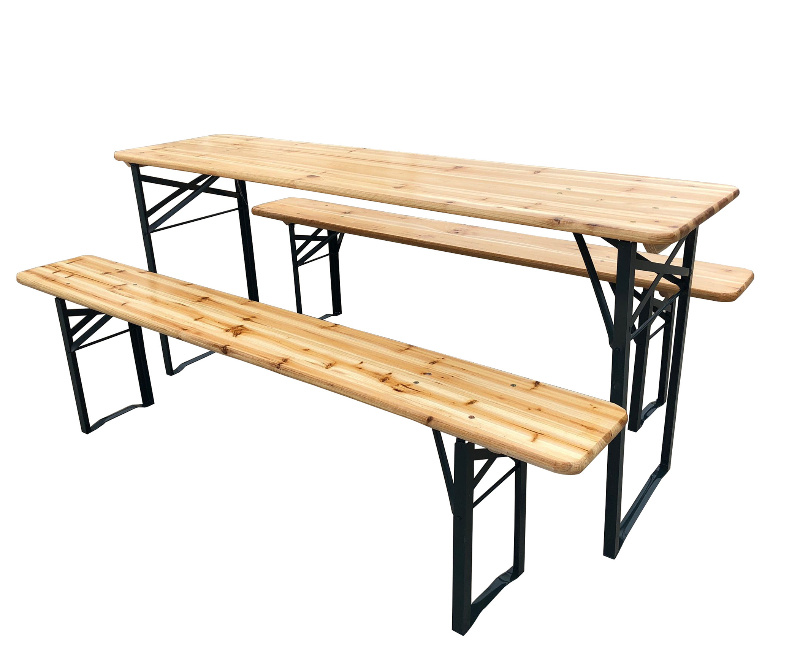 New Camping Table Wooden Outdoor Garden Table And Bench Folding Picnic Vintage