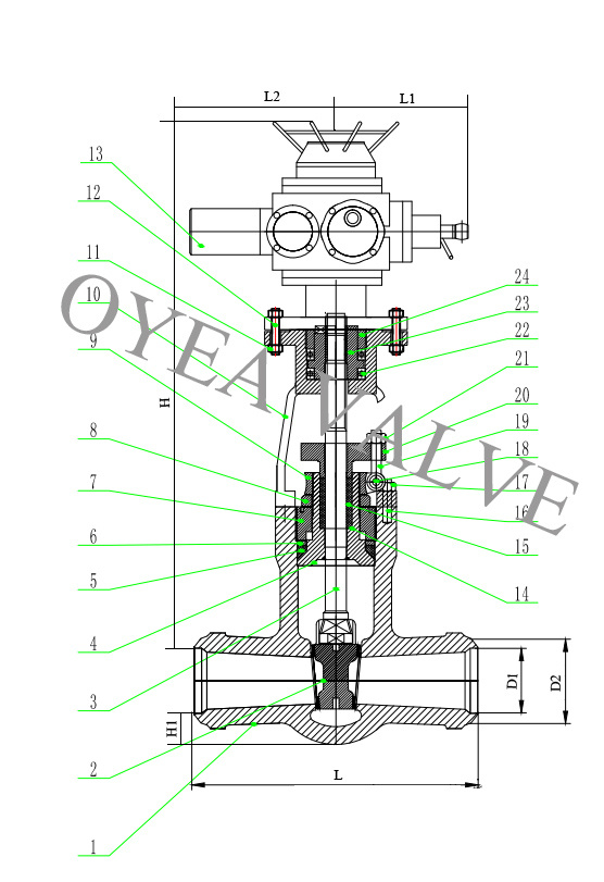 ANSI Wcb Forged Steel Stainless Steelpower Station Pressure Seal Motorized Electric Gate Valve