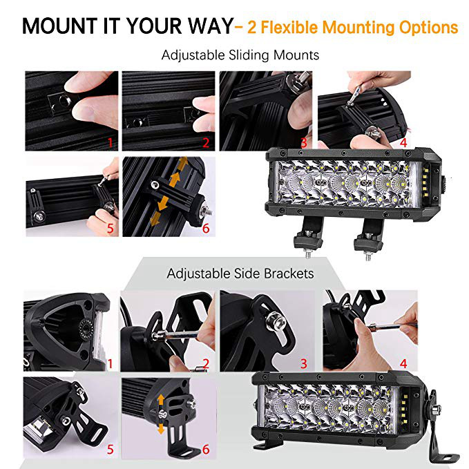 7.5'' Ce RoHS Waterproof Dual Side Shooter LED Light Bar for Jeep SUV ATV Truck Ofroad