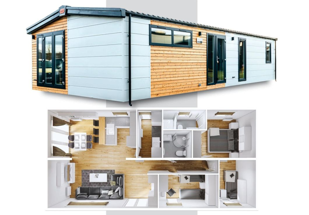 2 Bedrooms Prefabricated Log Cabins 860 Square Feet Wooden