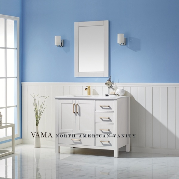 China Vama 42 Inch White Used Bathroom Vanity Modern Bathroom