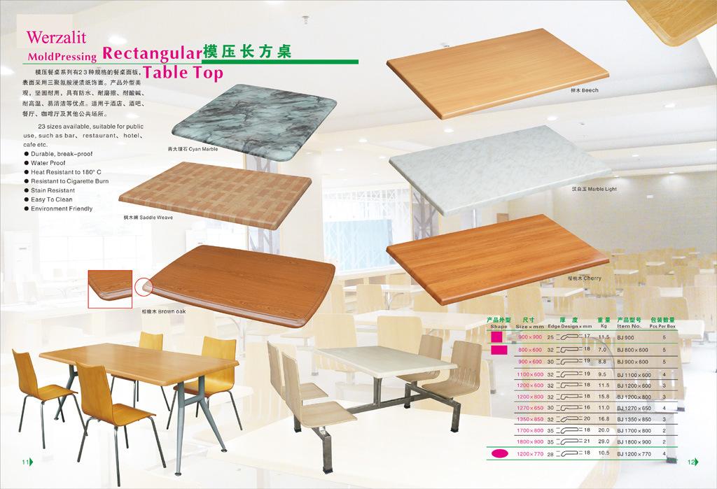 Werzalit Molded Pressing Rectangular Restaurant Table Top