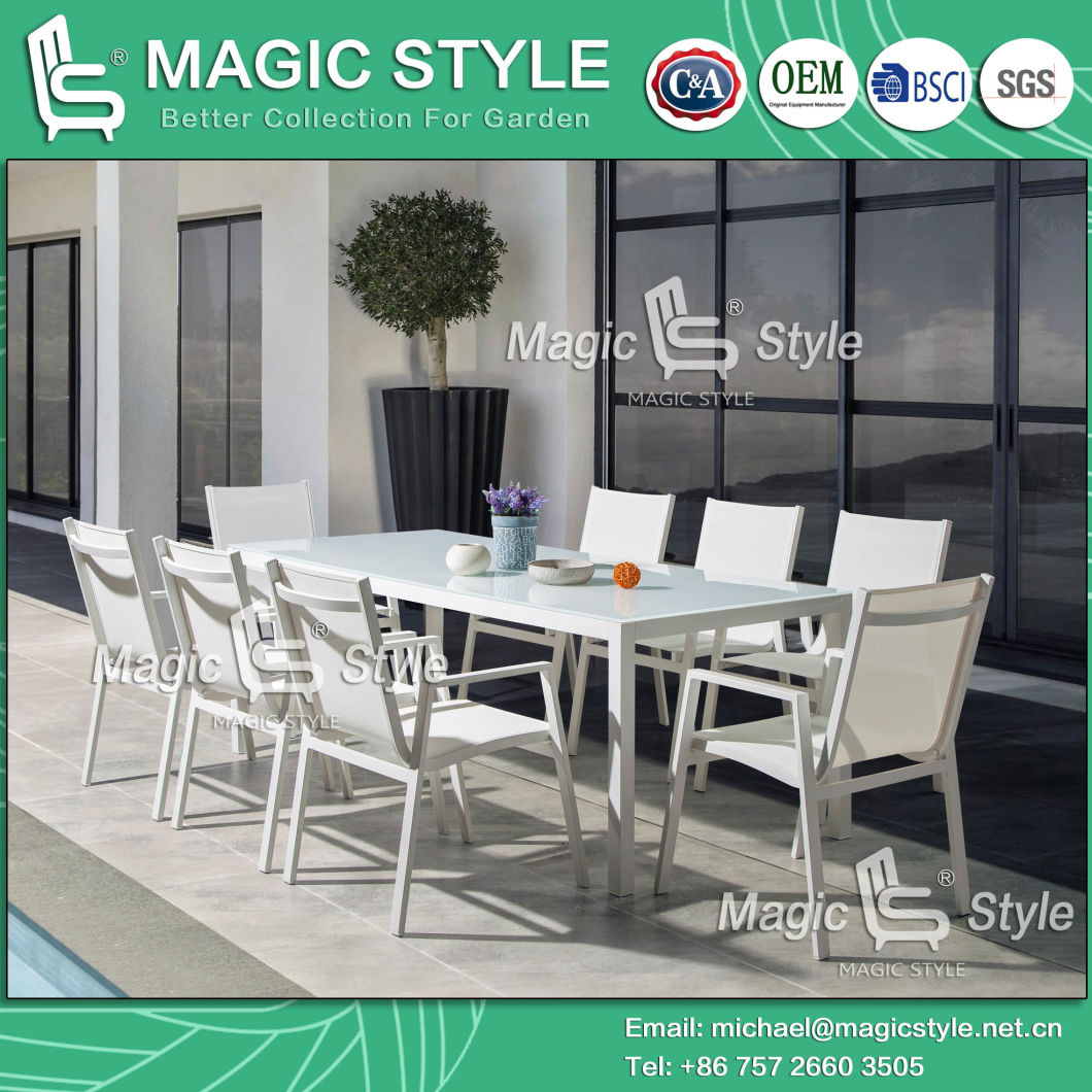 China Outdoor Textile Dining Set With Glass Garden Sling Dining Chair Patio Dining Table Hotel Proje