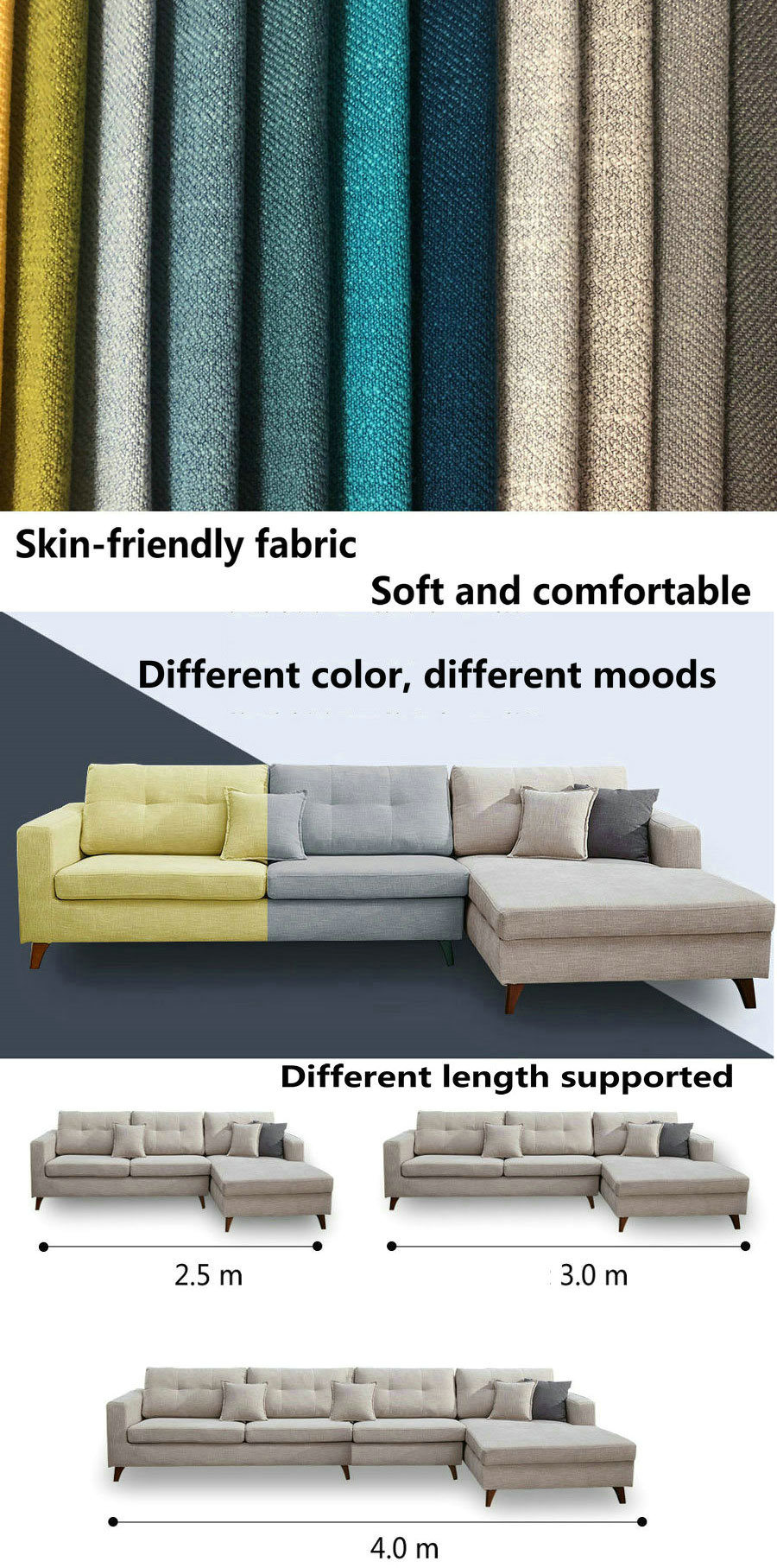 Simple Design L Shape Nordic Style Modern Fabric Lawson Sofa (S21)
