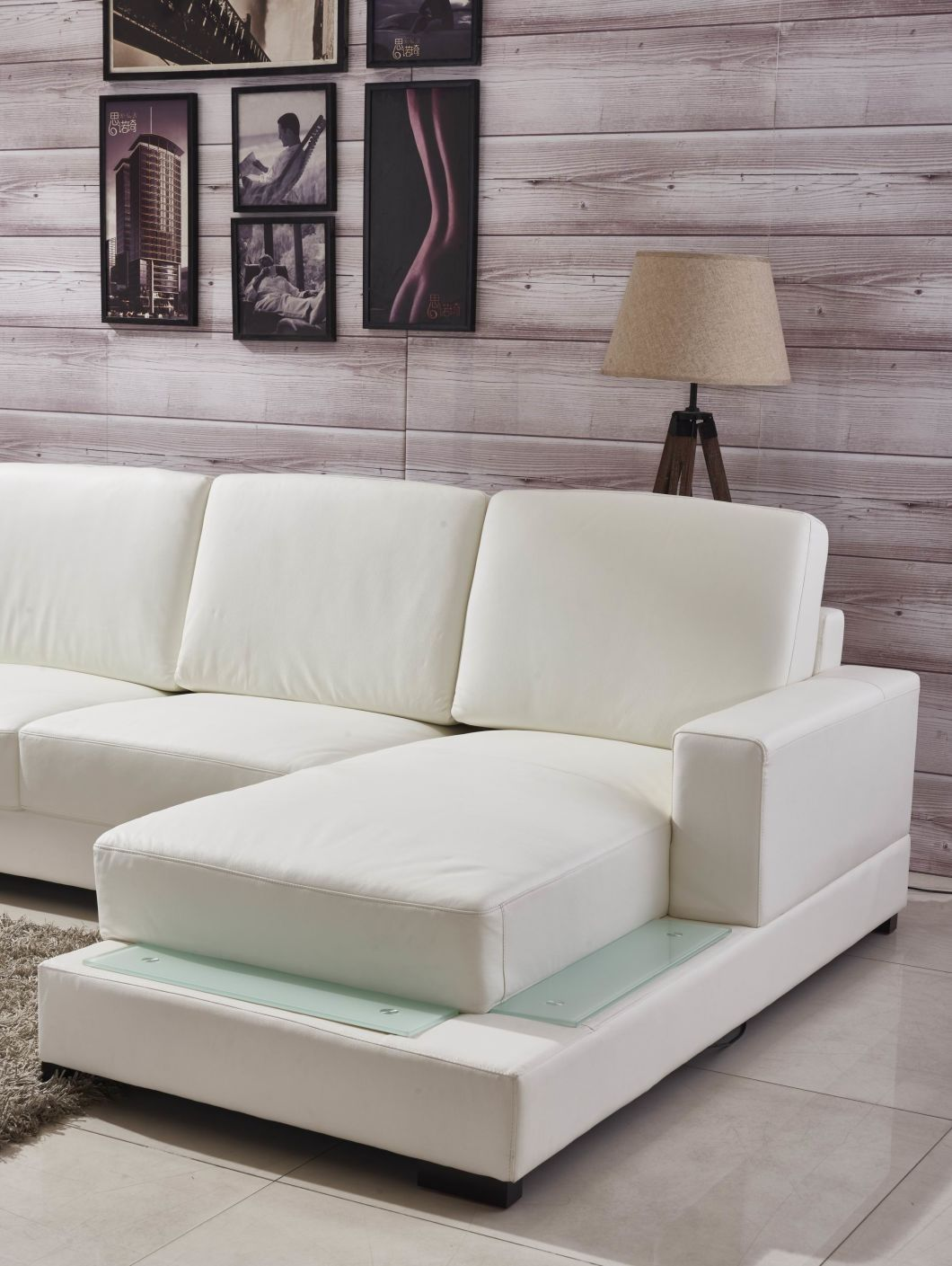 China Luxury European Style Living Room Genuine Leather L