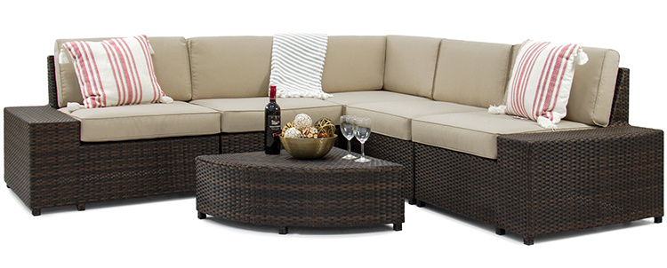 China Outdoor Garden Furniture PE Rattan Waterproof Corner Sofa Set