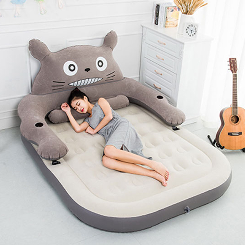 New Design Flocked PVC Inflatable Cartoon Bear Airbed