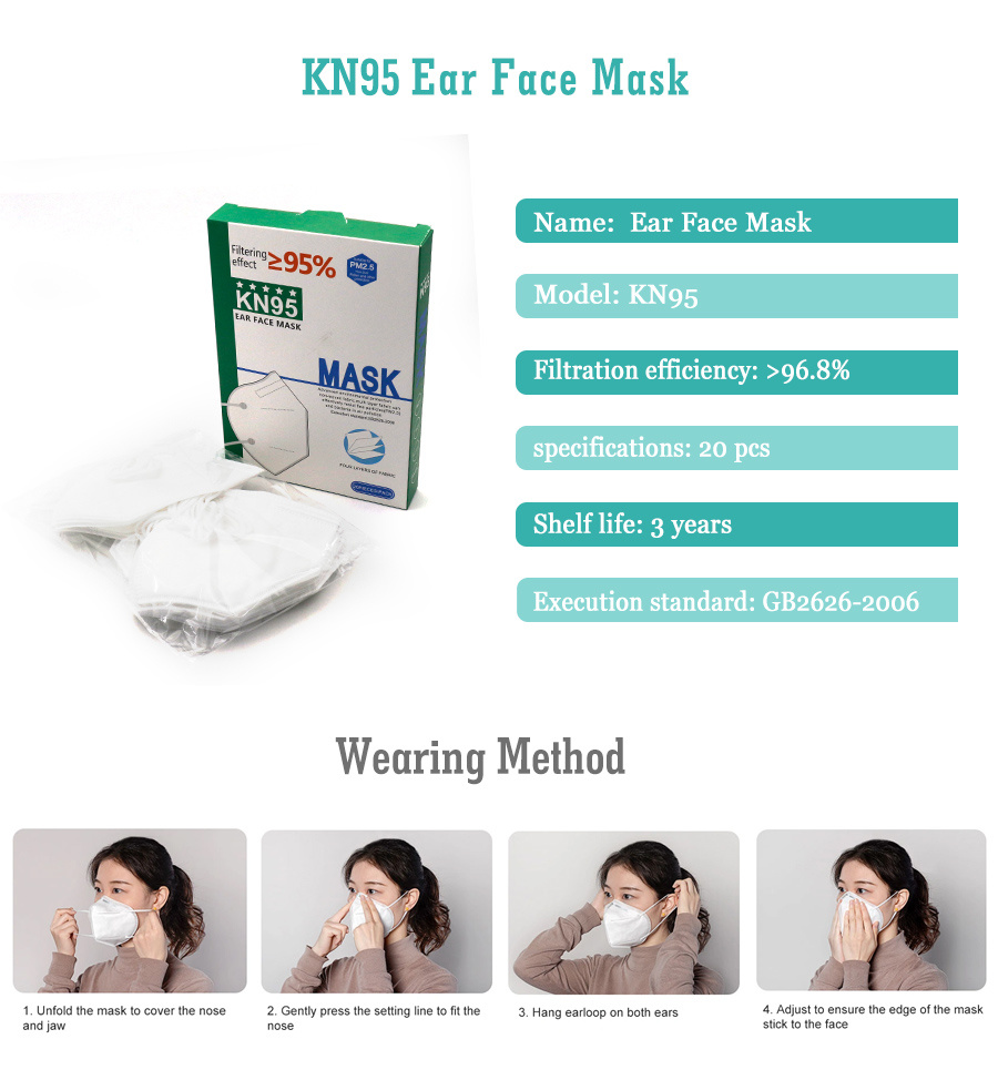 Wholesable FDA/Ce Safety Anti Virus White Reusable Kn95 Mask with Face/Ear Loop