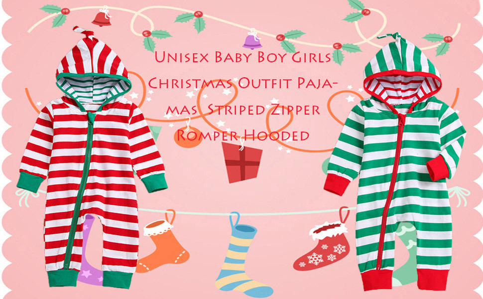 Toponly Family Christmas Pajamas Set Hoooded Striped Romper Jumpsuit Family Clothes