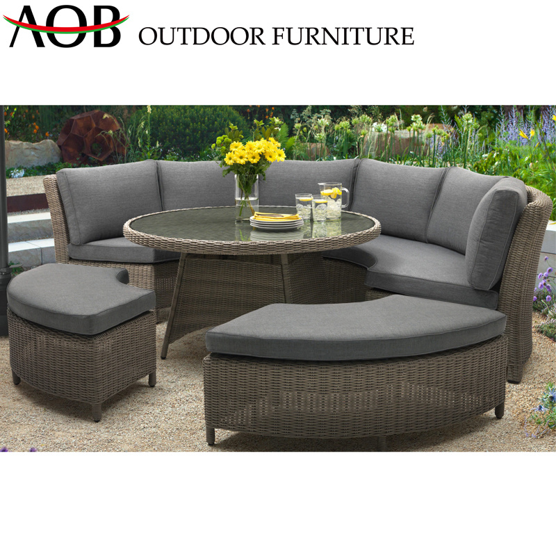 Brown Rattan Weave Sofa Sets with Round Table Modern Design Hotel Restaurant Sofa
