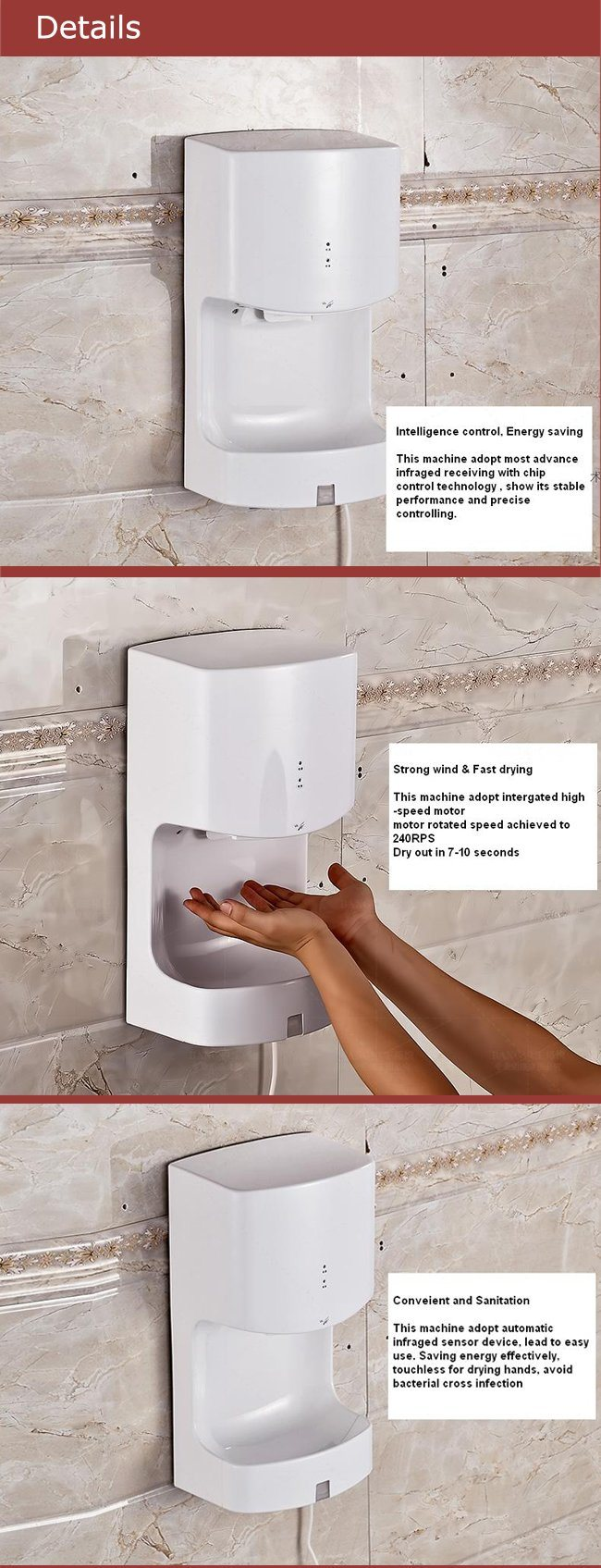High Speed Full-Automatic Hand Dryer for Cleanroom