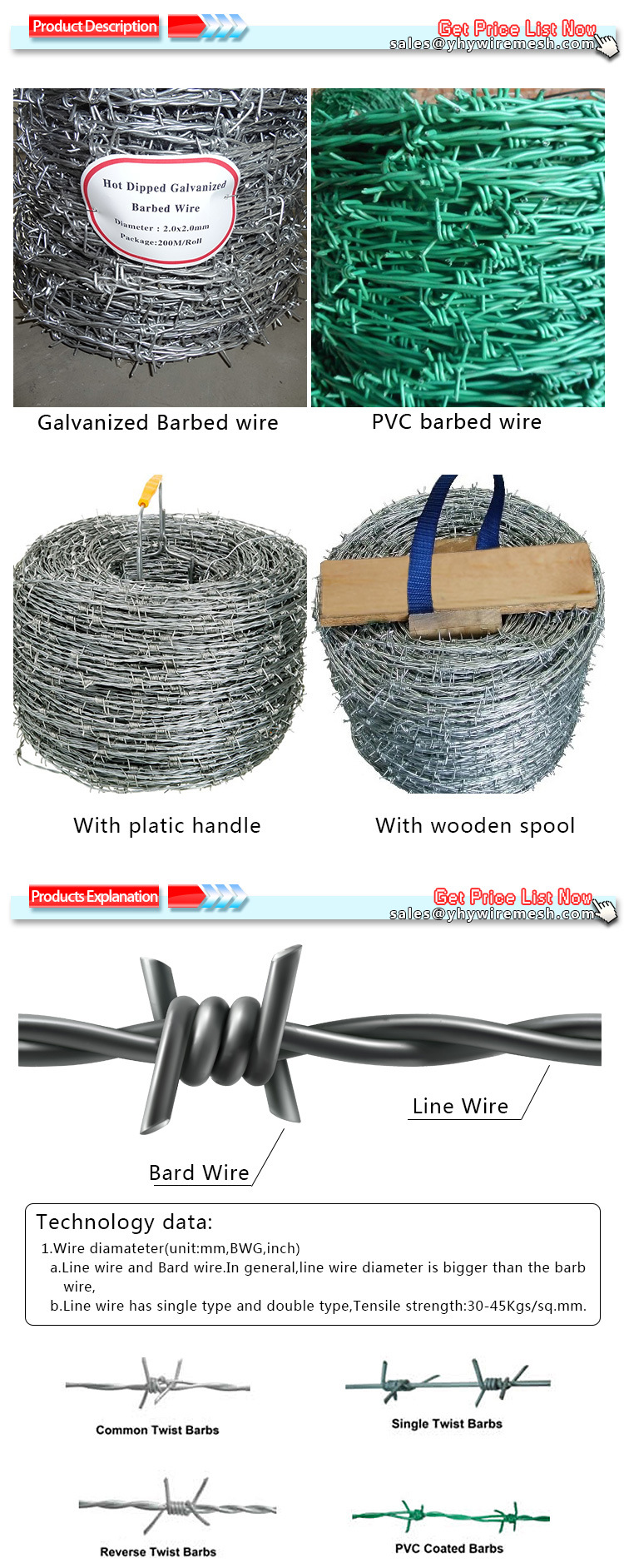 Hot Dipped Galvanized Barbed Wire Fence Used for Protect