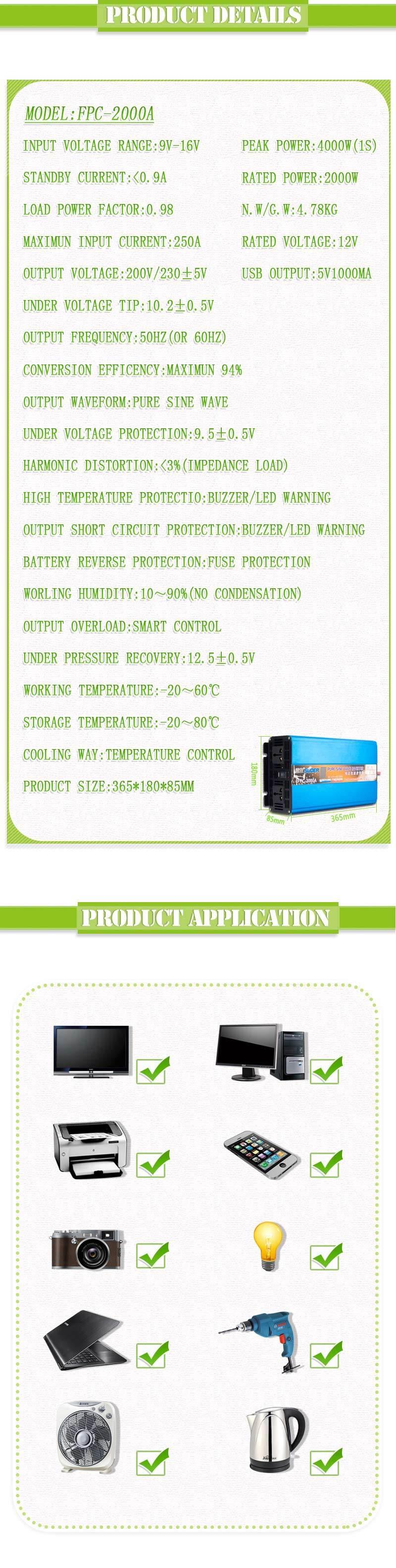 Suoer 2000W 12V 220V Inverter Pure Sine Wave Inverter (FPC-2000A)