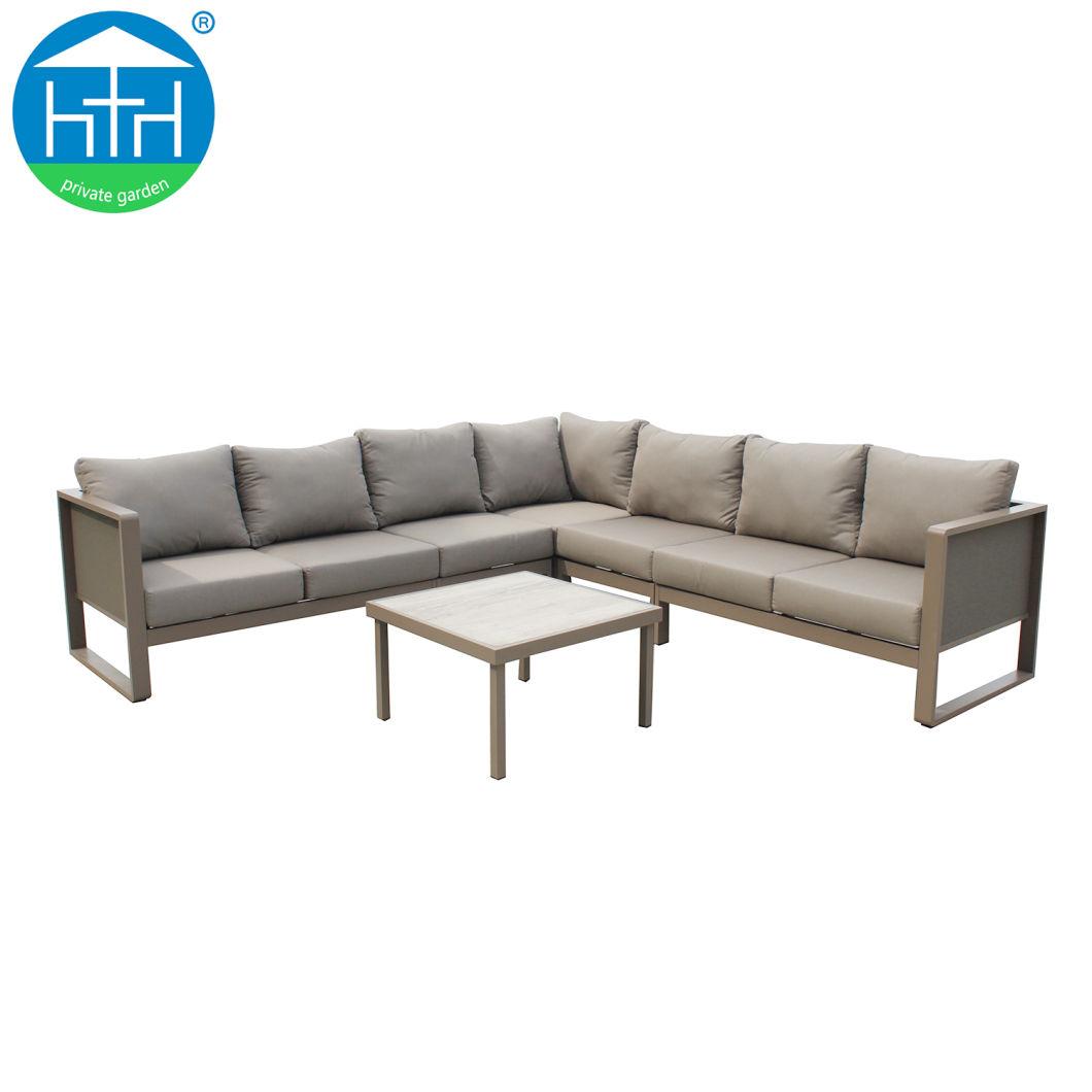 China Luxury Patio Furniture Design Modular Sofa Aluminum Powder Coated Sofa Lounge