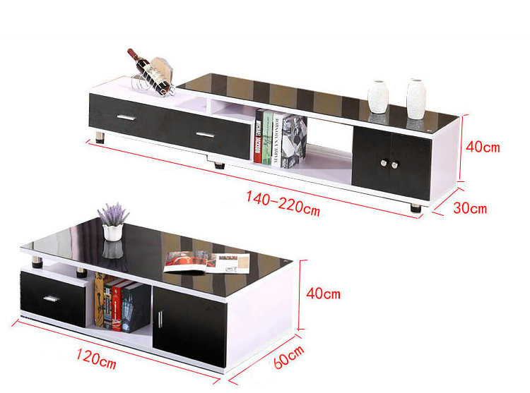Black Color Small Cbm Kd Furniture Living Room Coffee Table (308#)