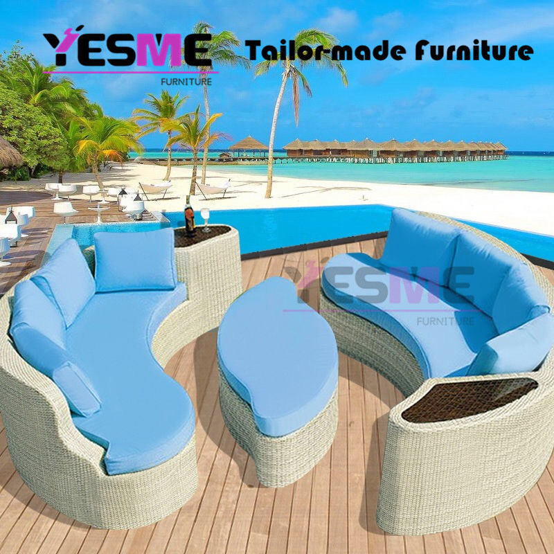 China Half Moon Outdoor Furniture Curved Patio Wicker Outdoor