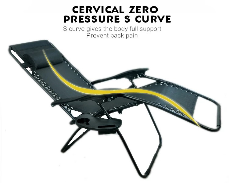 Portable Sun Bed Beach Chair Folding Patio Lounger Chair Zero Gravity Chair with Cup Holder