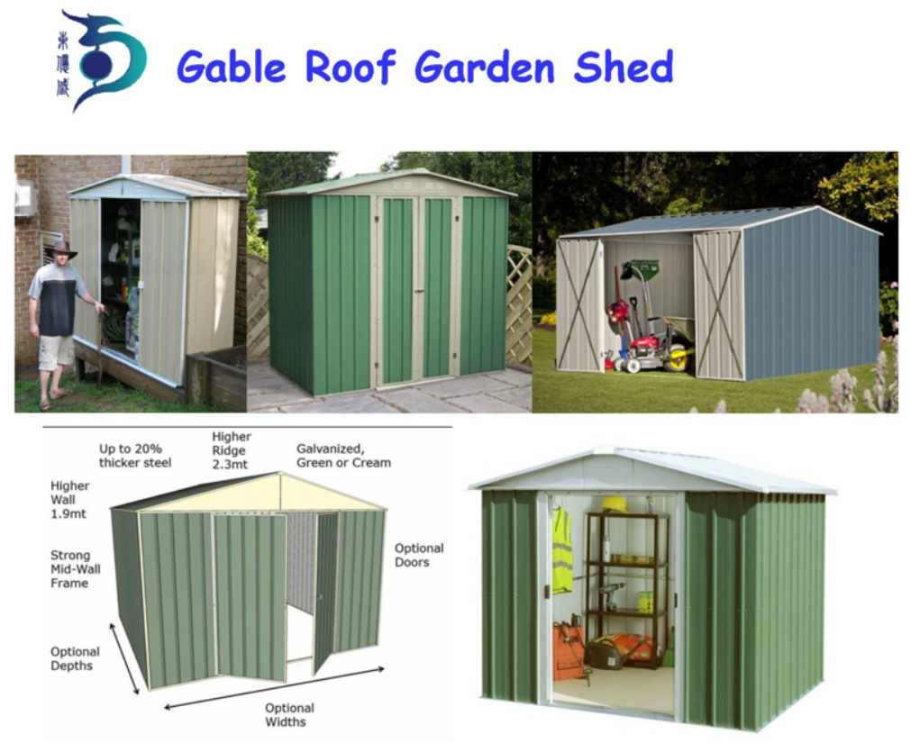 me<em></em>tal Prefab Chinese Garden Shed for Outdoor Use (RDS2618-G2)