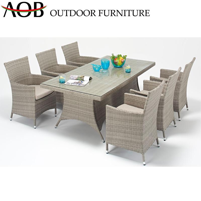 China Modern Rattan Dining Table Outdoor Garden Leisure Chairs Patio Hotel  Backyard Furniture