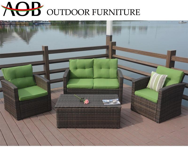 China Chinese Outdoor Garden Large Patio Luxury Furniture Rattan Wicker  Single Double Green Sofa Set