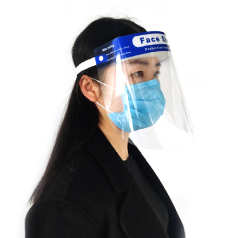 nan Stock Mask transparan figi plak pwotèj Anti bwouya plastik PPE figi plak pwotèj Splash pwoteksyon plen gad sekirite figi vizyèr plak pwotèj