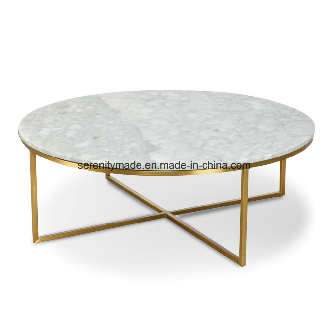 - China Round Marble Top Coffee Table With Stainless Steel Legs