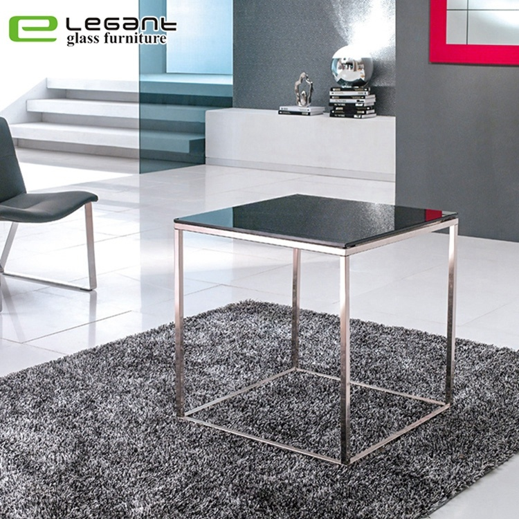 China Living Room Square Black Glass Coffee Side Table Side Table