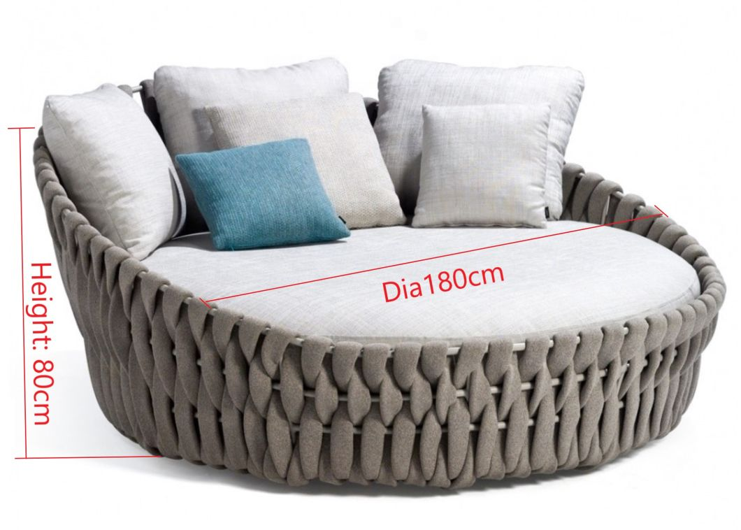 1.8m Round Outdoor Rope Sun Lounger Outdoor Lying Bed outdoor Furniture