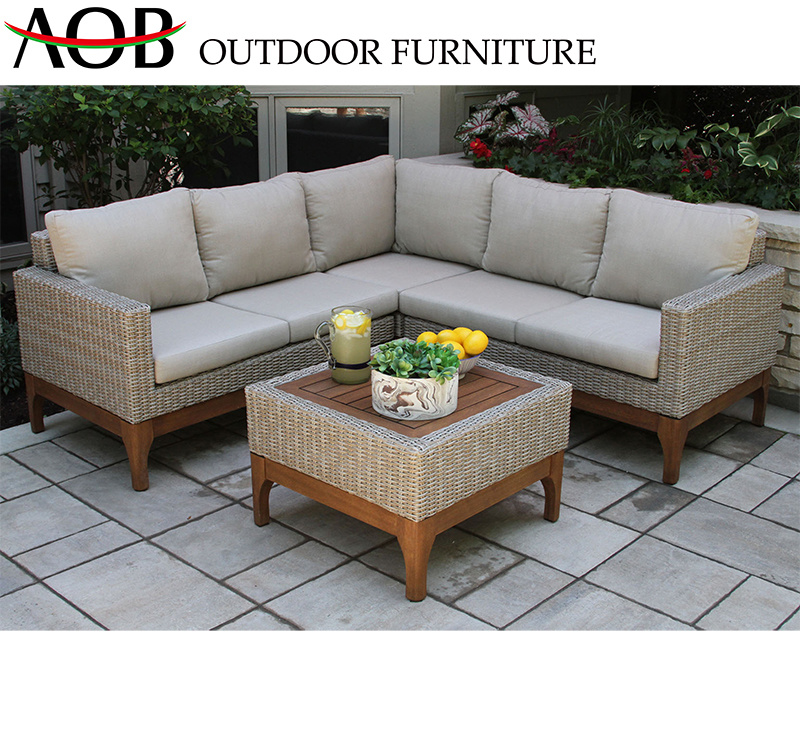 China Best Selling Outdoor Furniture Garden Rattan Wicker Square Table  Corner Sofa Set