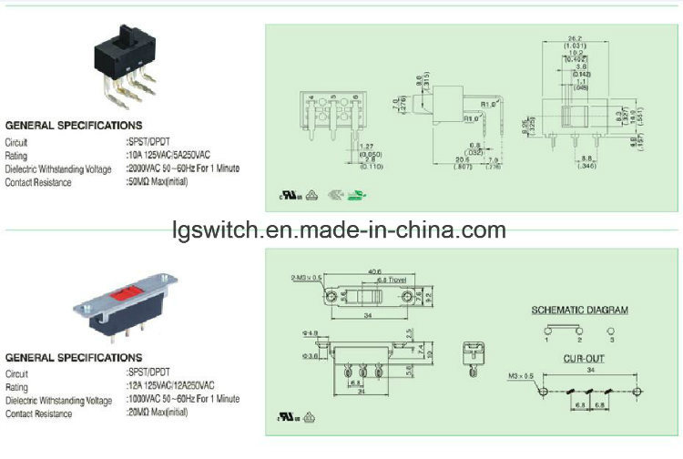 Power Micro Slide Switch 6A 250VAC
