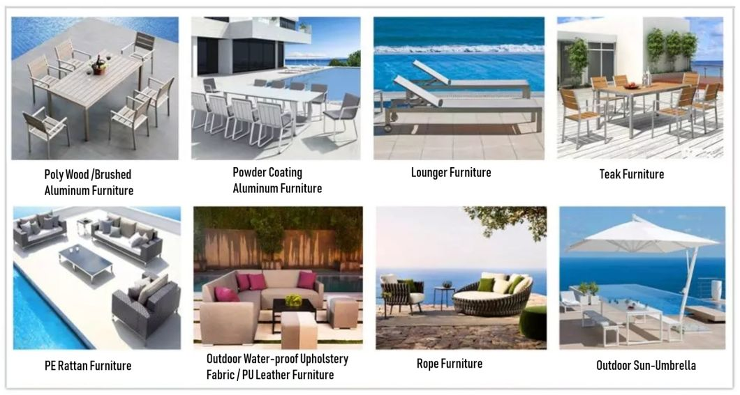 Wholesale Garden Furniture Outdoor Rope Furniture Dining Set Hotel Aluminum Table & Chairs Set Patio Dining Furniture