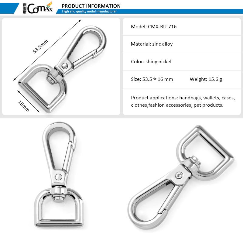 Wholesale Custom Handbag Hardware Nickel 16mm me<em></em>tal Spring Snap Hook