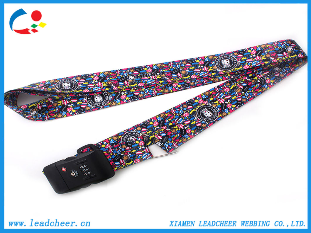 Tsa Lock Travel Luggage Strap Custom Heat Transfer Printing Logo Belt