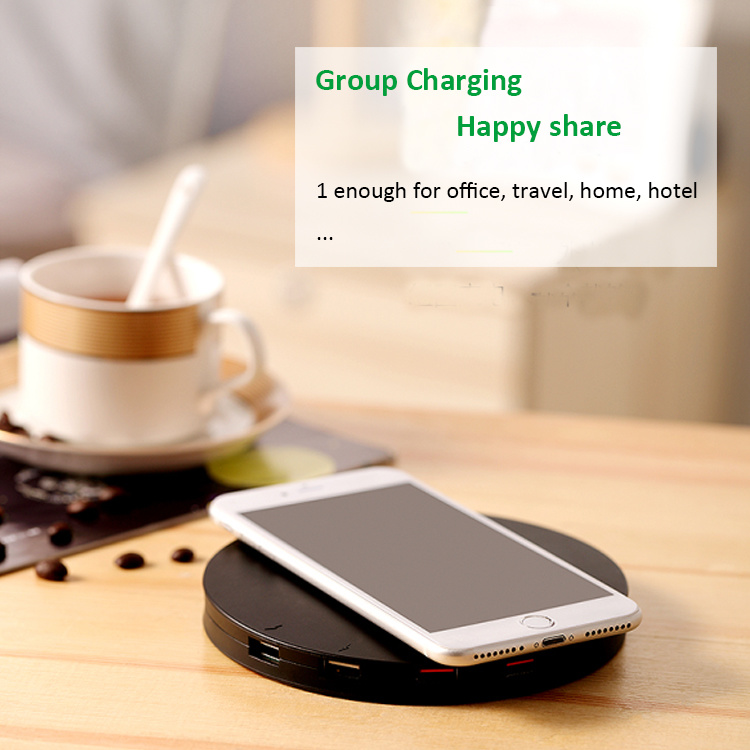 Portable Mobile Phone Wireless Charger with Multi Port USB Charging Desktop Station