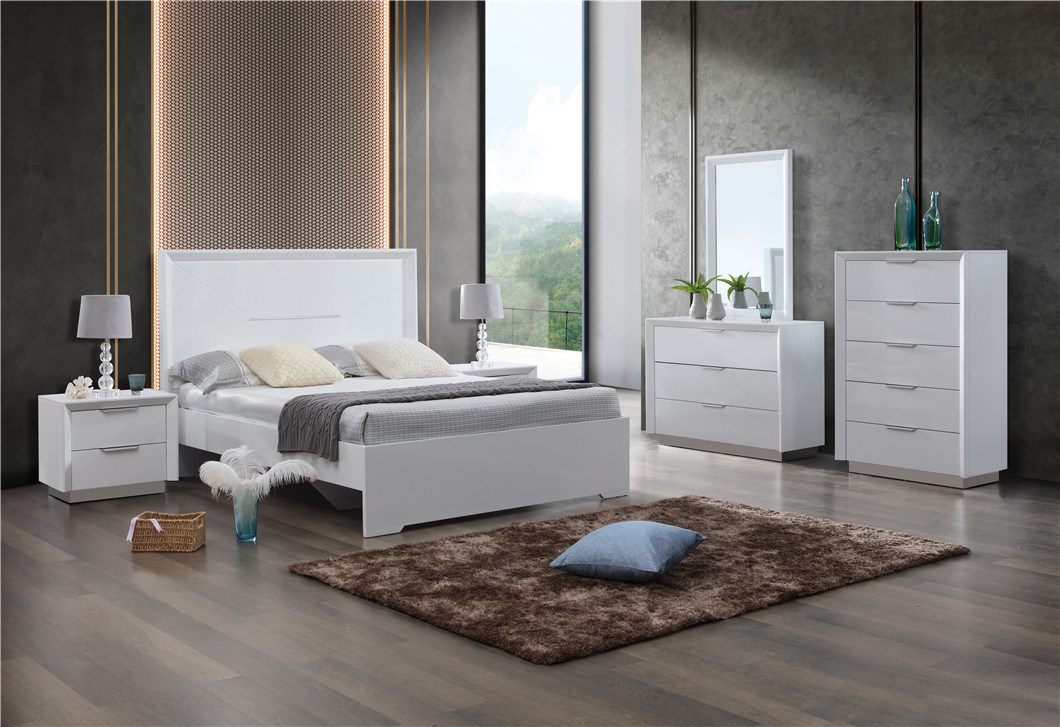 China Foshan Furniture Supplier White Color Painting Mdf Bedroom
